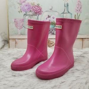 Hunter pink rain boots girls sz 9